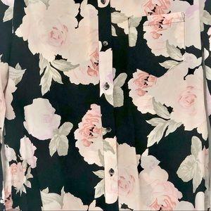 madewell Tops - Madewell Black Rose Silk Shirt / S